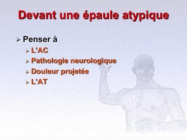 Examen de l'Epaule