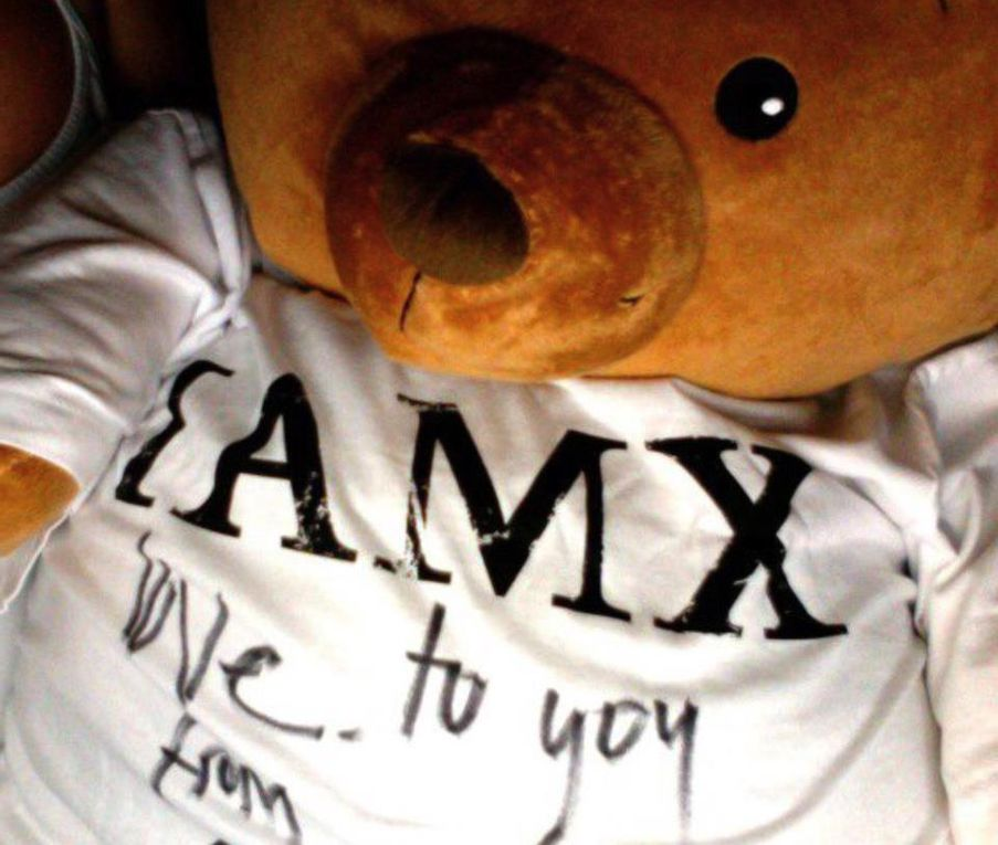 """I thought to the """" welcome """" of IAMX then (thanks so much )  in the street teams ( In IAMX official myspace at this time ,  who contain all profiles-pics-links of all street teams, IAMX  had put my picture up , very beginning ,  second i think :) .. I was so touched. (it made my delirium of madness for IAMX even more powerful, lol) And then I'm so disappointed that pages pretty myspaces , are erased now . They are two memories that I miss the most, they were a reflection of feelings for """" when i have discovered and learn so deep about IAMX """" and it was so woaaaw .. magnificent ! :')   are still alive on myspace but nothing remains of all the beautiful design who become """" invisible """" (  luv is intact ) except one sound .. check below <3 and some pics . IAMX later giving me the first dedicated cd's and tee <3  and i luv it like a teenager because chris write on my tee<3   its' probably one of my worst lost in my native country who stole my personals things before my departure"""