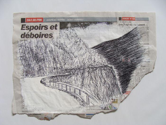 échappées, dessins au stylo bille sur journaux sportifs