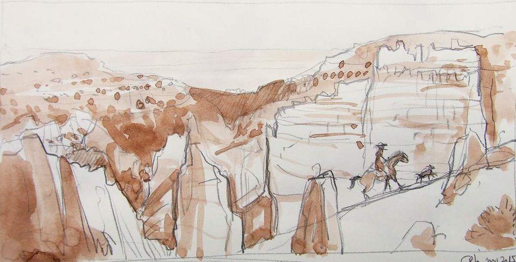 Esquisses pour A cow-boy on his horse Toutes : Crayon et encre sépia 21X30