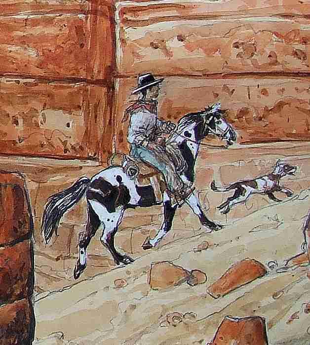 Détails (axés sur le cow-boy et son cheval) pris parmi les dix oeuvres présentées dans cet article. Crayon, aquarelle, encres, gouache sur papier.