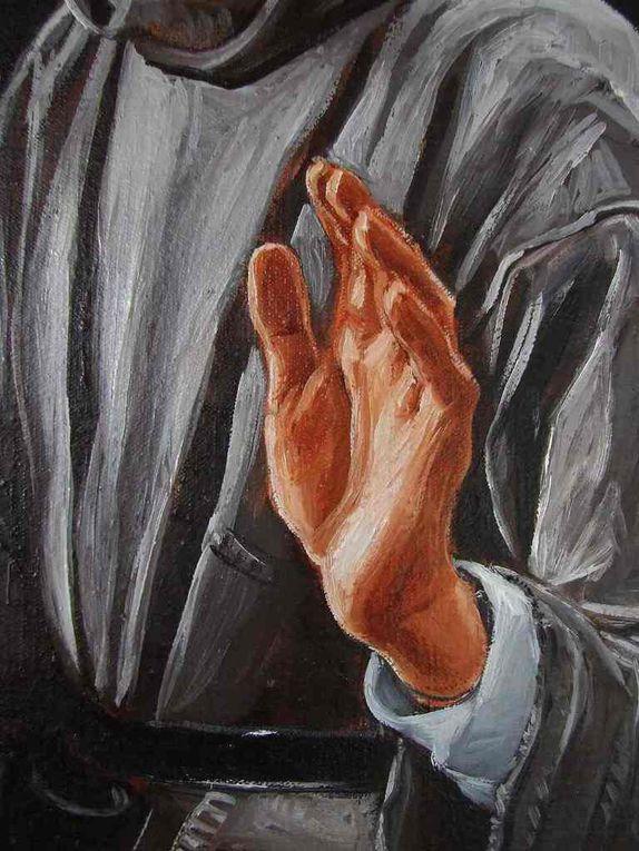 La Cène et le lavement des pieds  Huile sur toile  220x180. Détails des mains des moines/Apôtres. Bhavsar