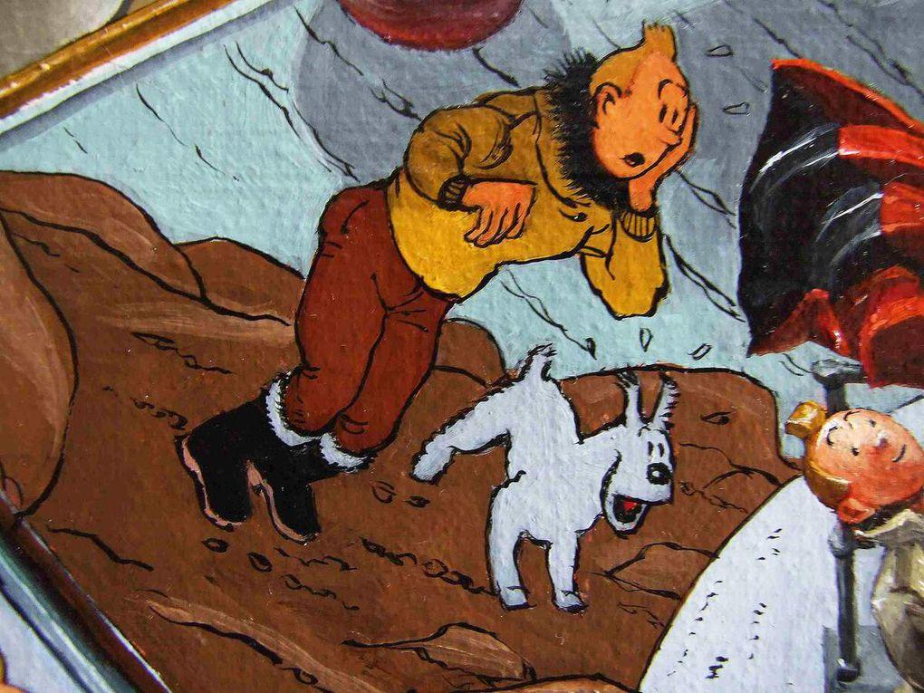 Nature morte Hergé et Tintin. Détail. Huile sur toile. 55x46 2016 Bhavsar