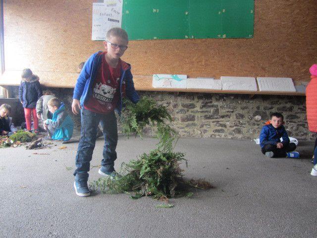 On a ramassé des feuilles et des fougères.
