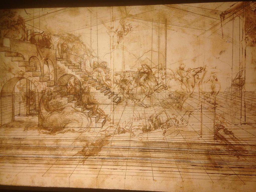 L'esquisse de Léonard de Vinci puis le noir et blanc et enfin la peinture originale de l'adoration des mages