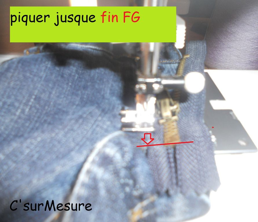 tuto en images pour re-monter et re-surpiquer la FG braguette !
