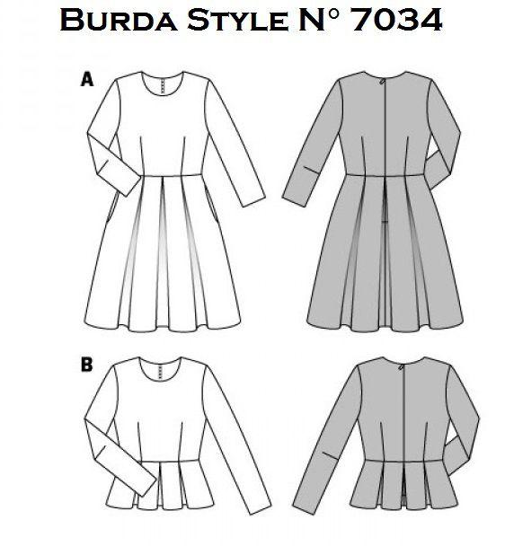 Patron Burda style:  Robe et Blouse, N°7034, T34 à T44.Téléchargable ou en pochette sur le site Burda.