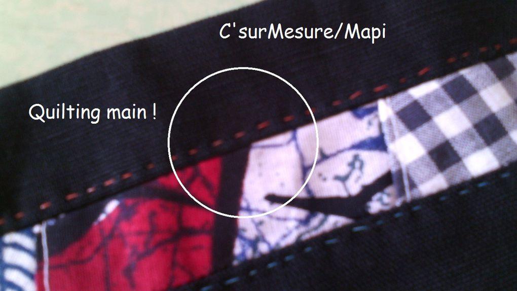 sur la ceinture ( réversible) : patchwork sur un côté et uni de l'autre, avec quilt main.