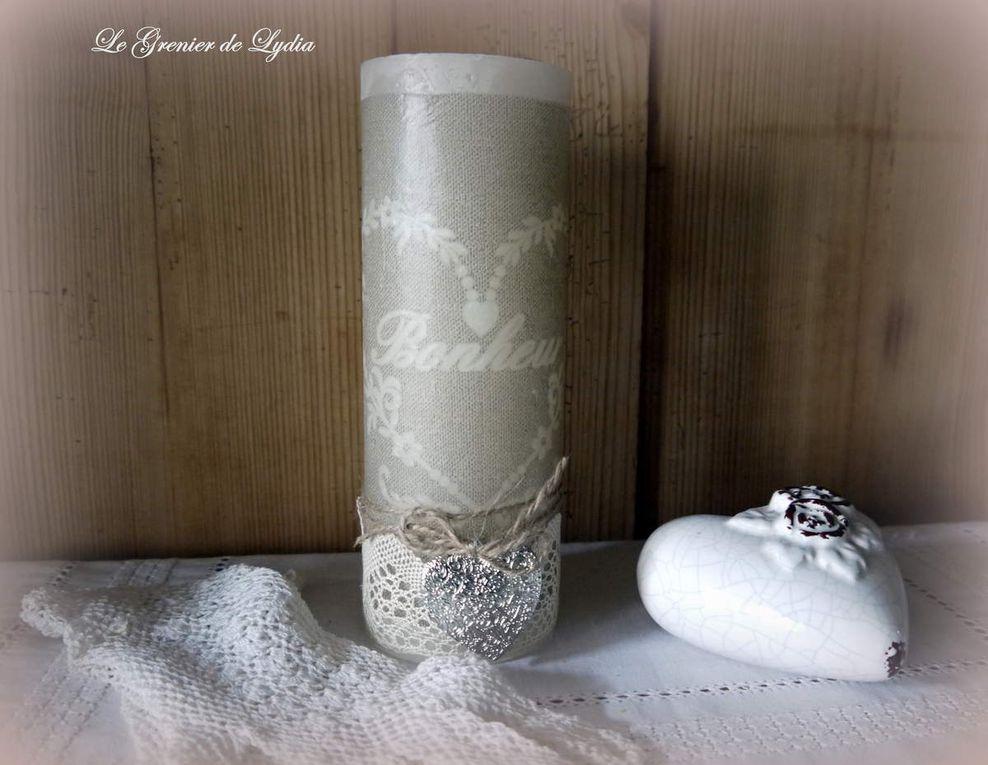 Bougies BONHEUR, existe en 13 - 20 cm, 2 couleurs lin et blanc