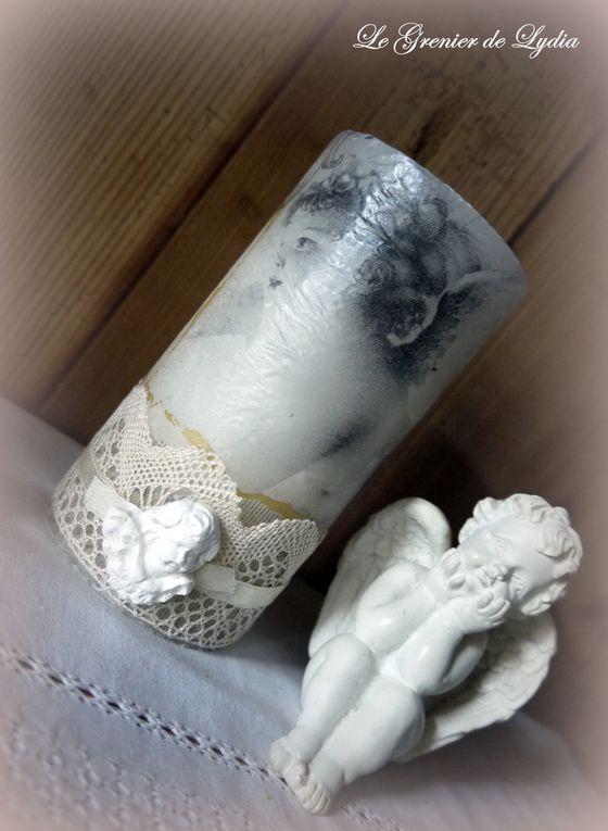 Bougie Chérubins, dentelle ancienne et angelot en plâtre... existe en 9 - 13 et 20 cm et bougies flambeaux