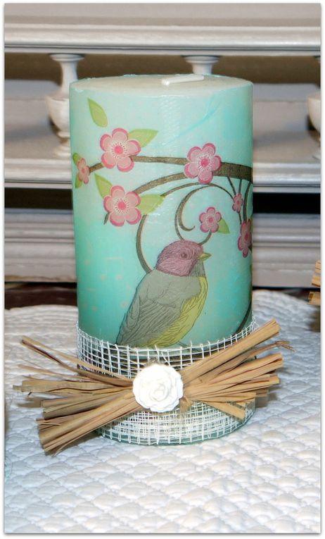 Bougies Oiseaux turquoise - Existe en 9 cm - 13 cm - 20 cm et bougies flambeaux