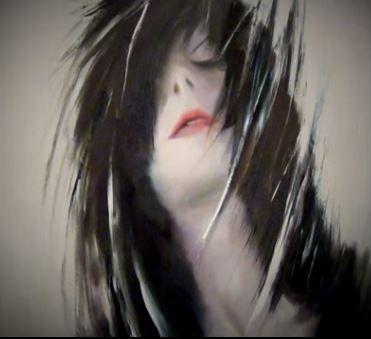 Dessin et peinture - vidéo 1635 : Portrait stylisé entre figuratif et surréalisme - huile, papier essuie-tout, couteau et pinceau.