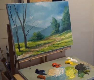 Dessin et peinture - vidéo 1685 : Tutoriel détaillé de la réalisation au couteau, d'un paysage aux arbres colorés - huile sur toile.