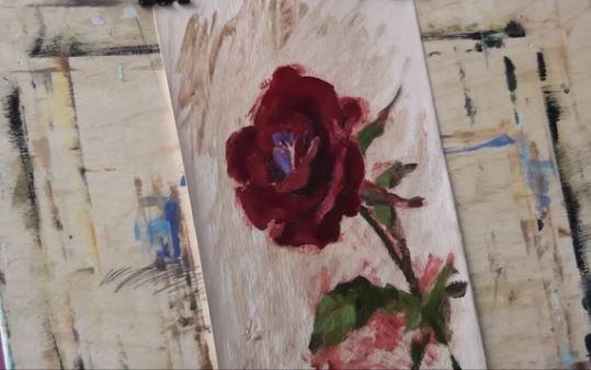 Dessin et peinture - vidéo 1690 : Une rose rouge pour le plaisir des yeux - peinture à l'huile.
