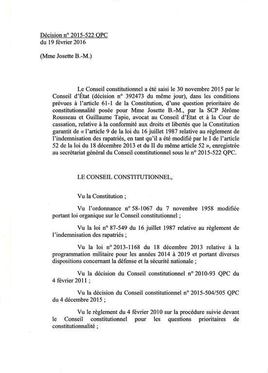 CONSEIL CONSTITUTIONNEL - ALLOCATION DE RECONNAISSANCE AUX HARKIS DE SOUCHE EUROPEENNE