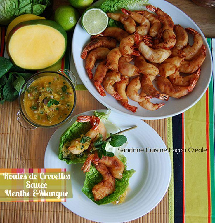 Roulés de Crevettes Sauce Mangue et Menthe