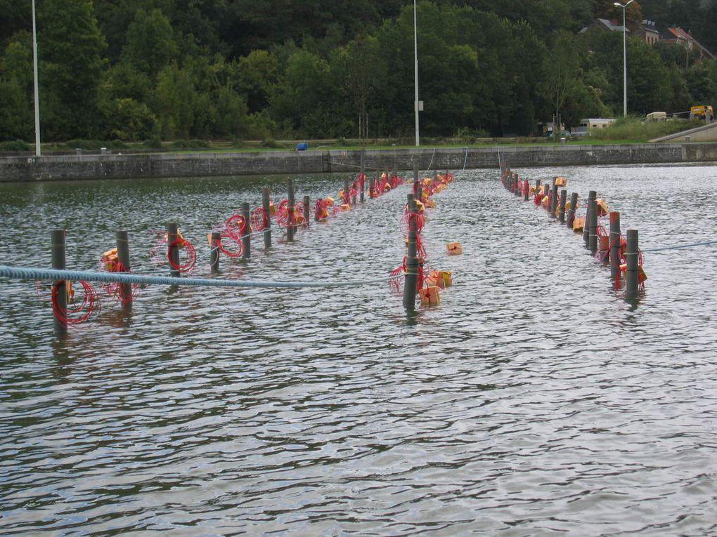 Approfondissement de la Meuse avec mise en oeuvre de détonateurs électroniques pour certains tirs sensibles / Underwater blasting with Nonel and electronic detonators. Photos TVE