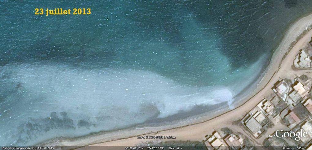 """Contributeur : Faw Feghoul Mis à jour : il y a 3 minutes · Pris à Bousmail  """"Suite chronologique d'images satellite sur la pollution de la faune et de la flore marine de 2009 à 2016 à Bou Ismail, nous constatons que le choix de l'emplacement de la débouche se concentre sur le courant d'arrachement vers le large !"""""""