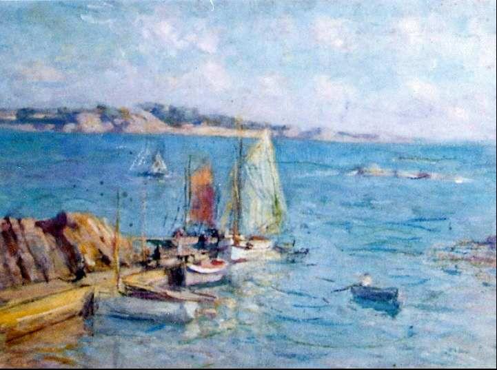 Jules Raymond Koenig (merci à Geoffroy de Frahan):De 1894 à 1939, le peintre fit de nombreux séjours en Bretagne du Nord et du Sud, notamment à l'Ile de Bréhat et à Concarneau. Baie de Launay&#x3B; embarcadère de Larcouest&#x3B; Port de Bretagne -2ème pont?-&#x3B;Régates à Paimpol&#x3B; Port de L'Arcouest.1er pont?&#x3B;Port-clos&#x3B; 2ème pont...