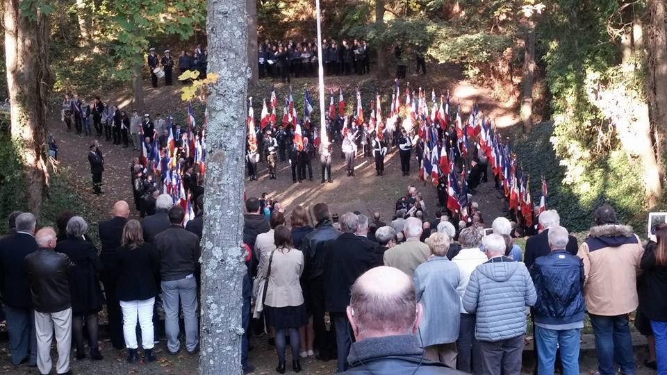 Cérémonie annuelle du Souvenir des Mémoires du Mont-Valérien, ce jour, au Mémorial de la France Combattante.