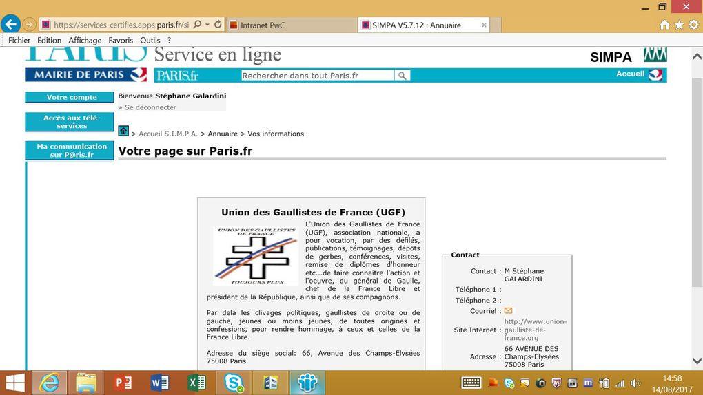 IMPORTANT: changement d'adresse postale de l'Union des Gaullistes de France (UGF)