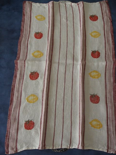 5 torchons : fruits et légumes - 1992