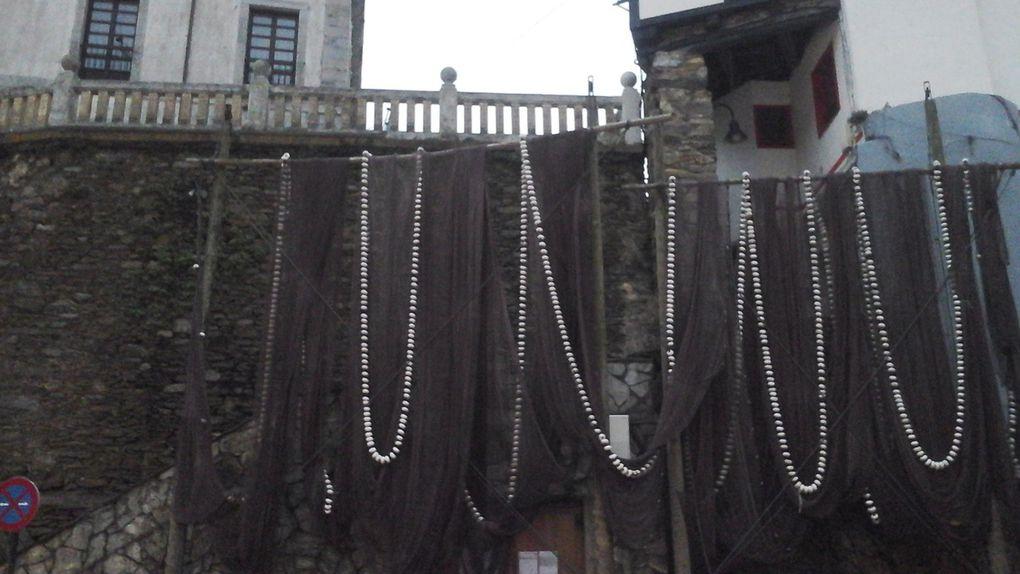 Face au port la falaise couverte d'arbres. Les filets suspendus sur le mur et enfin les armes de la ville en haut de la cale..?