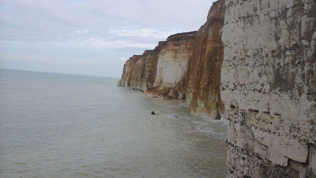 Un épi qui s'enfonce dans la mer, la falaise aux strates de craie et de silex et les galets toujours présents.