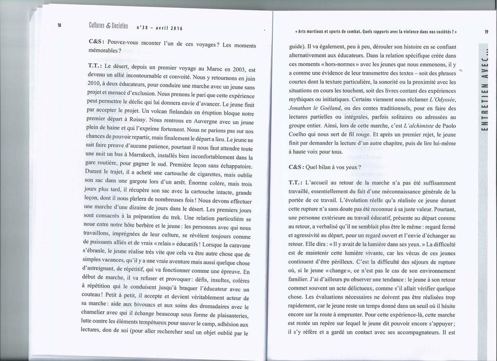 Article sur Educateurs Voyageurs dans la revue Cultures et Sociétés
