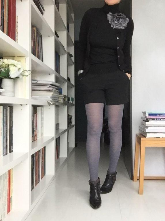 Version short et mini jupe ...Bon, je ne vais pas travailler comme cela, mais vous voyez l'idée du col roulé qui va avec tout !