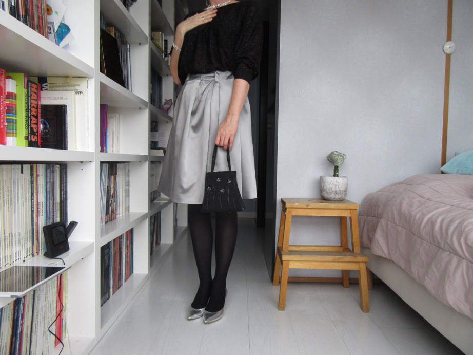 Tenue de fête : jupe : Philosophy d'Alberta Ferreti - pull : Camaieu - tenue de printemps : pull rose : J Crew - jupe à carreaux : SheIn - pantalon chiné : Philosophy d'Alberta Ferriti (oui, les mêmes soldes)