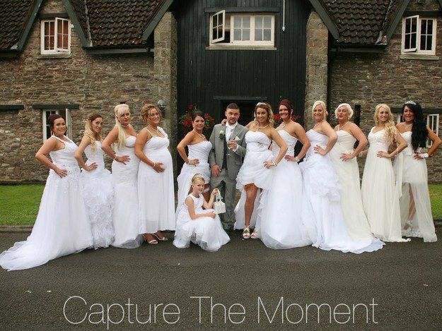 Two Men Marry Each Other With Their 10 Bridesmaid Dresses Wearing Wedding Dresses