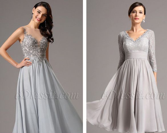 Grey Prom Formal Wear for Party