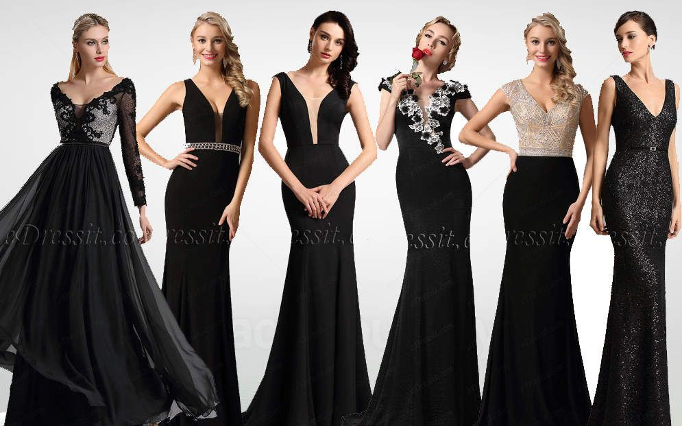 Black V Neck Prom Dresses