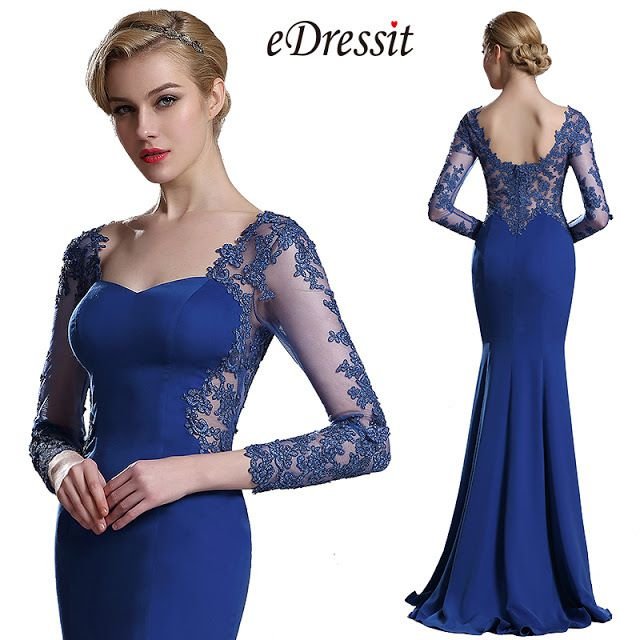 Fabulous Blue Long Sleeves Prom Dresses