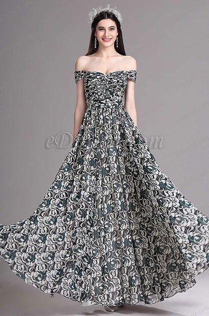 Lovely Off Shoulder Printed Prom Dresses