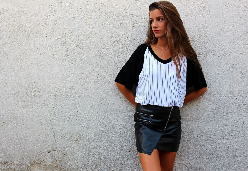 top Brandy Melville // collier plaqué argent //jupe similicuir H&M // flashtattoo Stradivarius