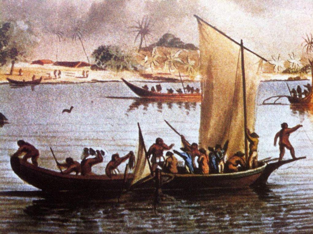 Cook à Tonga Tabu 1777, La Mort du Capitaine Cook à Hawaï, L'Astrolabe met une chaloupe à la mer, Baie de la Conception au Chili, Monument de l'Ile de Pâques voyage de Lapérouse, Costumes des habitants de Manille Atlas Lapérouse.
