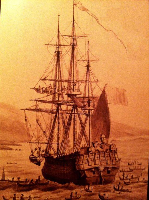 L'Astrolabe Atlas de Voyage de La Pérouse, Hache embarquée en 1785, Perles de passades embarquées, Merle du Port aux Français tiré de l'Atlas de La Pérouse.