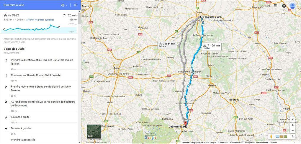 Etapes successives - Tracé Google Maps