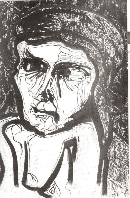 """Encre noire sur papier """"Elephant"""", 37 cm x 46 cm, à partir de modèles vivants"""