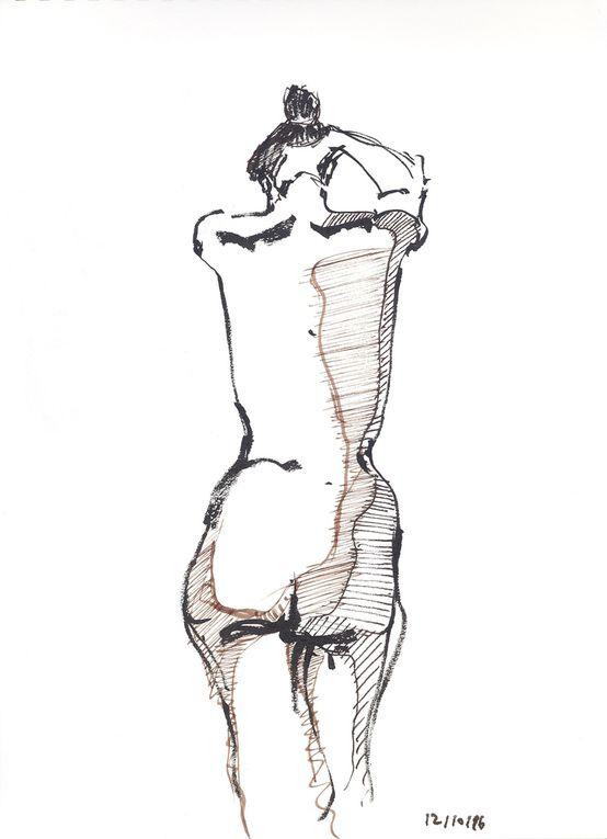 Encre noire sur papier lisse, pinceau et plume, 21 cm x 29 cm, à partir de modèles vivants