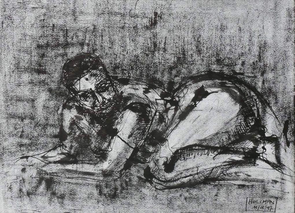 Encre noire sur papier lisse, 24 cm x 32 cm, à partir de modèles vivants