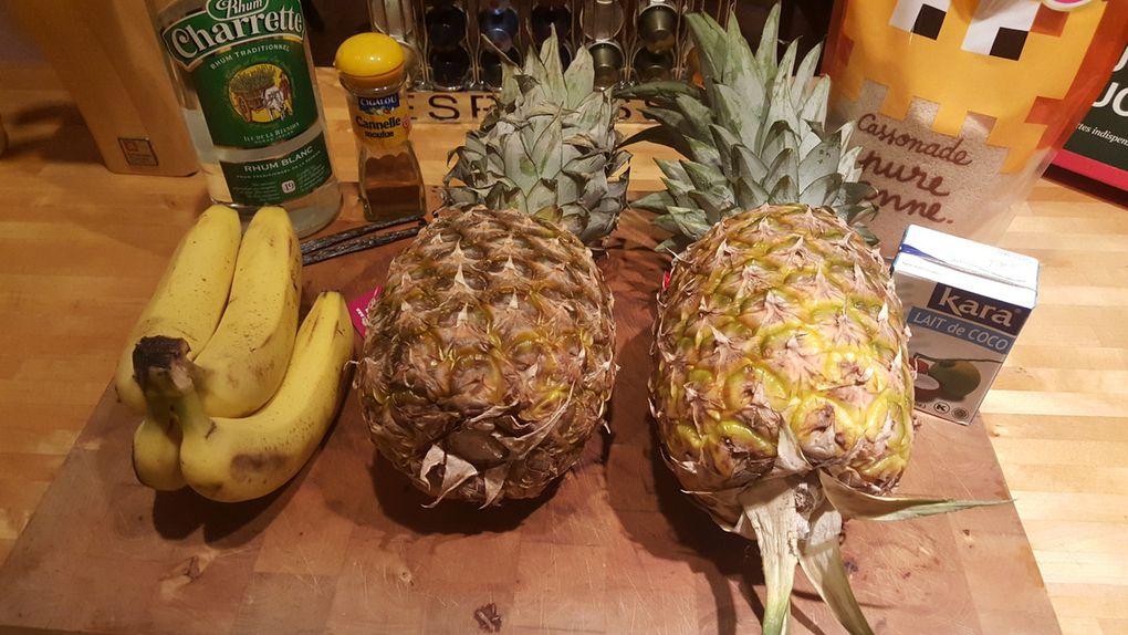 Bananes flambées et ananas au lait de coco ��