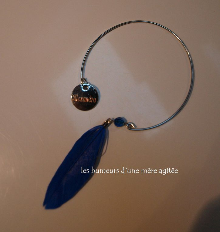 """Cadeau de Mônsieur Beau Gosse : un sac Gris """" Bleu Turquoise """" et un bracelet gravé """" SVAROWSKI """""""