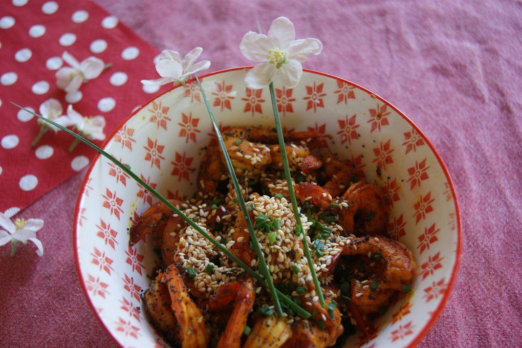 Crevettes sautées aux épices