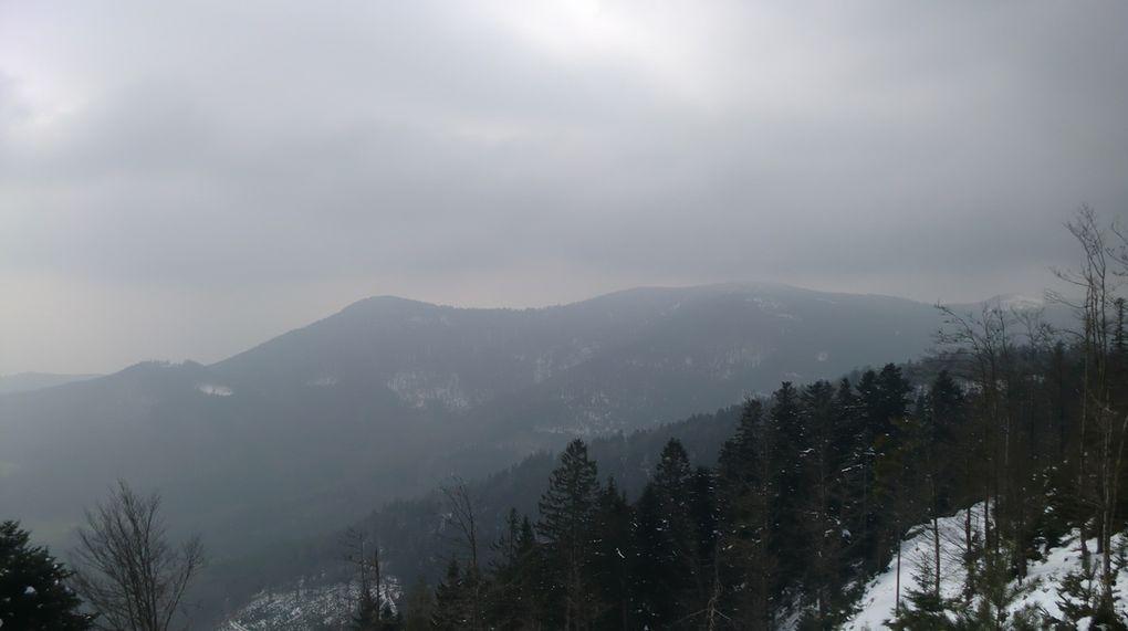 Le retour se fera par le sentier de l'Elsassblick en direction du Col du Hoellenwasen. Le ciel s'éclaircit  encore et nous apercevons le Petit et Grand Katzenberg puis le sommet du Baerenberg (967m), ravagé par la tempête Lothar en décembre 1999.