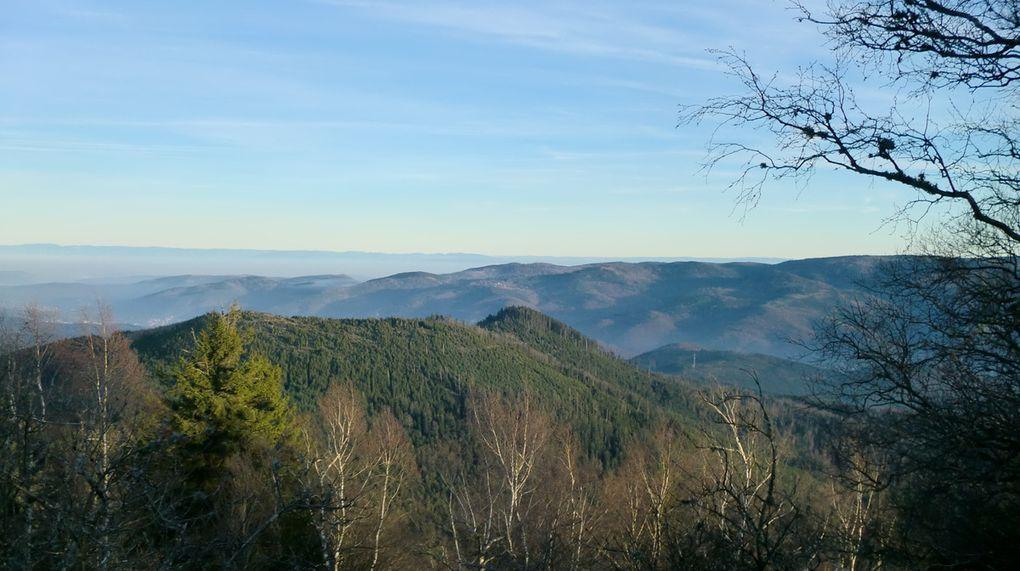 Sur la plateforme sommitale, le panorama est exceptionnel. La luminosité est absolument splendide. Une vue panoramique à 360° vers la vallée de la Sarre, de la Plaine et de la Bruche.  A l'extrémité N-E, la vue sur le Petit-Donon et en arrière plan le Rocher de Mutzig et la Grande Côte est magnifique.