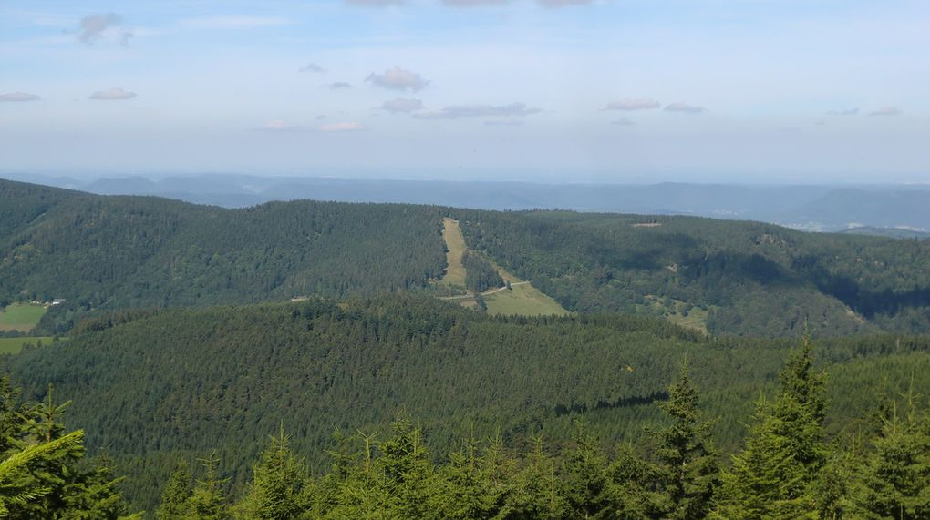 Sommet du Grand Brézouard (1229 m). Vue sur les pistes de ski des Bagenelles, accessibles depuis le col.