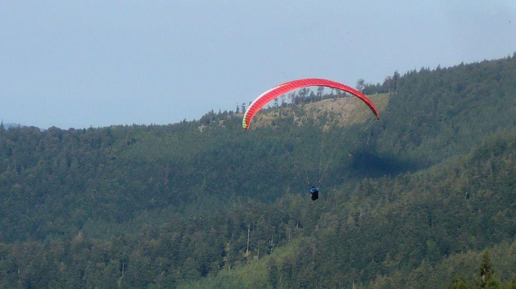 Sur les pentes du Haycot (1110 m), se trouve une piste d'envol de parapentes. Nous en profiterons pour les observer pendant un moment.